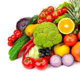 The composition of fresh fruits and vegetables. Isolated on whit Royalty Free Stock Image