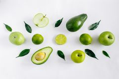 Composition of fresh green fruits isolated Stock Images