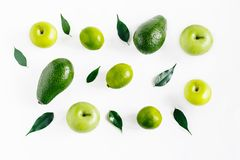 Composition of fresh green fruits isolated Royalty Free Stock Images