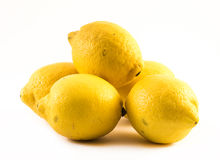 Composition of fresh lemons on a white background Stock Photography