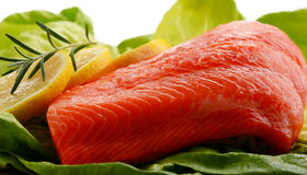 Composition with fresh raw salmon fillet.  Stock Photos