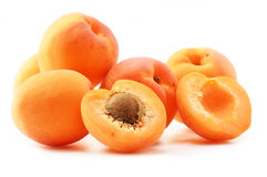 Composition with fresh ripe apricots on white Royalty Free Stock Photos