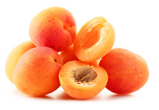 Composition with fresh ripe apricots on white Stock Photos