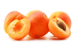 Composition with fresh ripe apricots on white Royalty Free Stock Photo