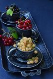 Composition of fresh ripe berries: red, black and white currants on a dark gray concrete background. Dark photo. Photographing in royalty free stock image