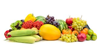 Composition fresh ripe fruits and vegetables isolated on white. royalty free stock images