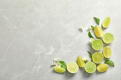 Composition with fresh ripe limes on light background. Top view Stock Image