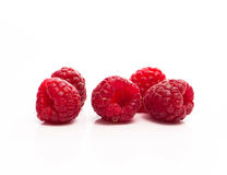 Composition of fresh ripe raspberries Stock Photos