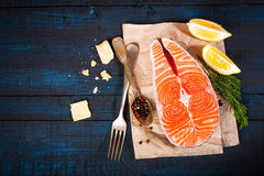 Composition with fresh salmon, herbs, parmesan and spices. Food background Stock Image