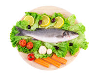 Composition of fresh seabass and vegetables. Stock Photography