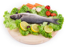 Composition of fresh seabass and vegetables. Royalty Free Stock Photos