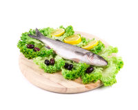 Composition of fresh seabass and vegetables. Stock Images