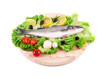 Composition of fresh seabass and vegetables. Stock Photo