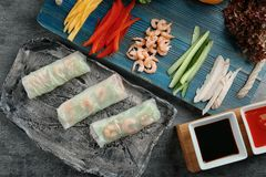 Composition with fresh spring rolls in rice paper. And ingredients on table Stock Image