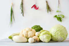 Composition of fresh vegetables and spices. Royalty Free Stock Photo