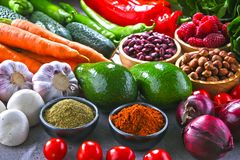 Composition with fresh vegetarian grocery products.  Stock Photo
