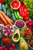 Composition with fresh vegetarian grocery products.  Royalty Free Stock Images