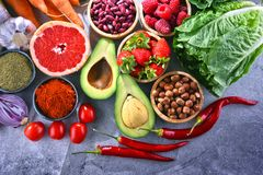 Composition with fresh vegetarian grocery products.  Stock Image