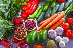 Composition with fresh vegetarian grocery products.  Royalty Free Stock Photography