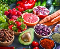 Composition with fresh vegetarian grocery products.  Stock Photography