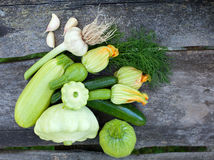 Composition of fresh zucchini Stock Photo