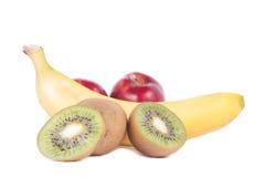 Fruits. Composition of the fruit. Banana, apple, kiwi fruit isolated on white Royalty Free Stock Photo