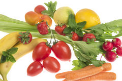 Composition of fruit and vegetables Royalty Free Stock Photos