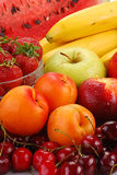 Composition with fruits. With visible drops of water Royalty Free Stock Photography