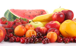 Composition with fruits. With visible drops of water Royalty Free Stock Images