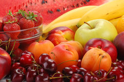 Composition with fruits. With visible drops of water Royalty Free Stock Photo