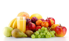 Composition with fruits and glass of orange juice Stock Images