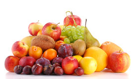 Composition with fruits isolated on white. Background Royalty Free Stock Image