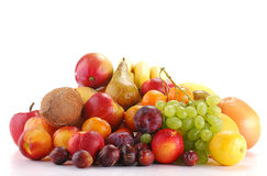 Composition with fruits isolated on white Royalty Free Stock Image
