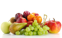Composition with fruits isolated on white Stock Photos
