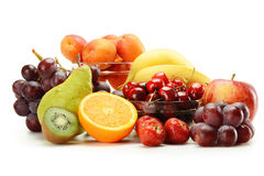 Composition with fruits isolated on white Royalty Free Stock Photo
