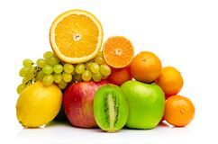 Composition with fruits isolated on a white Stock Photos