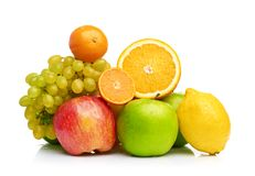Composition with fruits isolated on a white Stock Photography