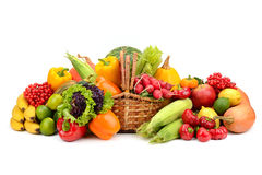 Composition of fruits and vegetables in basket. On white Royalty Free Stock Images