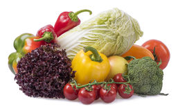 Composition of fruits and vegetables. Isolated royalty free stock photo