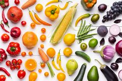 Composition of fruits and vegetables in rainbow colors royalty free stock photos