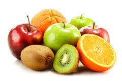 Composition with fruits on white stock images