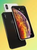 Composition futée en 3 d'Apple téléphones de l'iPhone XS pour des maquettes illustration de vecteur