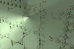Composition futuriste dans l'espace avec le mur du cube 2 Images stock