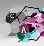 composition géométrique en hexagone 3d, fond abstrait numérique géométrique illustration stock