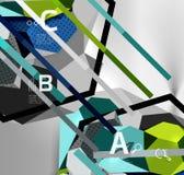 composition géométrique en hexagone 3d, fond abstrait numérique géométrique Photographie stock libre de droits