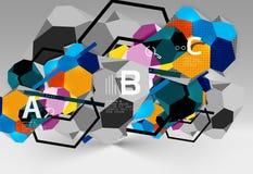 composition géométrique en hexagone 3d, fond abstrait numérique géométrique Photo stock
