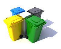 Composition of Garbage bins in colors Royalty Free Stock Photos
