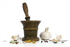 Composition with garlic and spices Royalty Free Stock Images