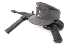 Composition german army field cap and MP40 Royalty Free Stock Image