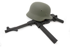 Composition with german battle helmet and MP40 royalty free stock photography